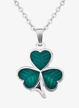 Shamrock Pendant Necklace (Silver Plate) by Sea Gems