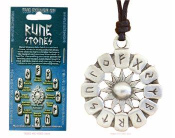 Futhark Runes Wheel Pendant Necklace