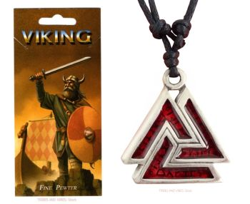 Valknut & Runes Red Pendant Necklace
