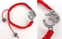 Sanskrit OM Ohm Aum Rhinestones Red Cord Bracelet