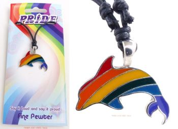 Rainbow Dolphin LGBTQ Pendant Necklace