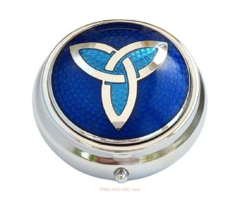 Triquetra Trinity Knot Pill Box by Sea Gems (2-tone Blue)