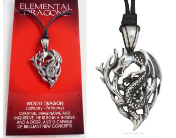 Chinese WOOD DRAGON Pendant Necklace for 1964 1965