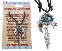 Crescent Moon, Orange Stars & Feather Pendant Necklace 47mm