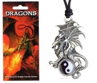 Dragon Yin Yang Pewter Pendant Necklace