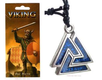 Valknut & Runes blue Pendant Necklace