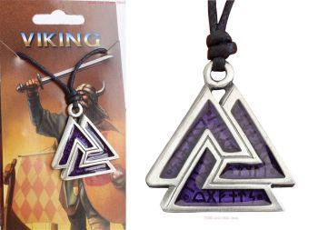 Valknut & Runes Purple Pendant Necklace