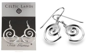 Spiral Shell Ammonite Nautilus shaped Earrings by Sea Gems, Sterling Silver