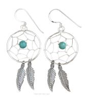 Dream Catcher Earrings, Sterling Silver & Turquoise Crystal Bead