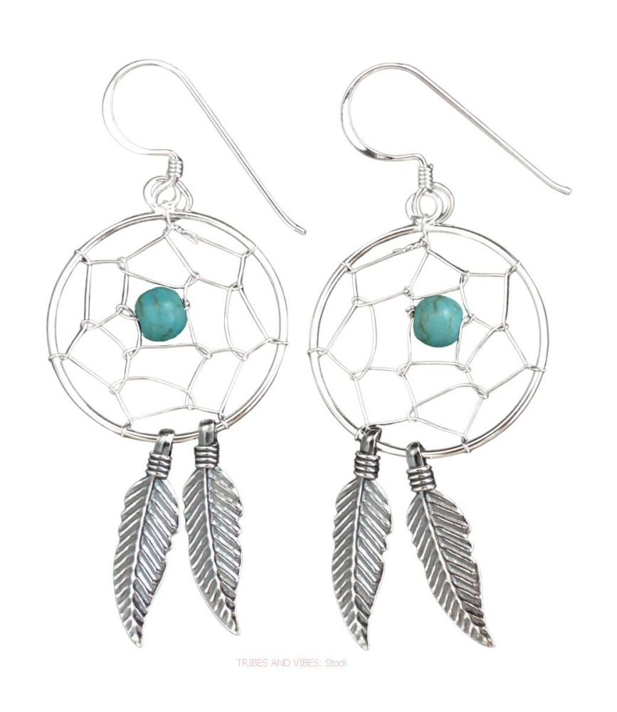 Dream Catcher Earrings 925 Sterling Silver + Turquoise Crystal Bead (stock)