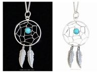 Dream Catcher Pendant Sterling Silver + Turquoise Crystal Bead