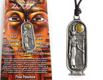 ISIS Egyptian Goddess Zodiac 25 February to 26 March Pendant Necklace