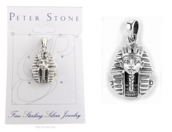 King Tut Tutankhamun Pharoah Pendant, Sterling Silver by Peter Stone