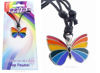 Rainbow Butterfly LGBTQ Pendant Necklace