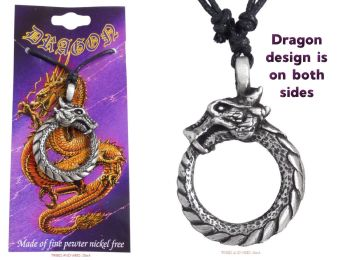 Dragon Infinity Re-Birth Ouroboros Jormungandr 2-sided Pendant Necklace