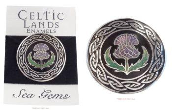 Scottish Thistle Knotwork Brooch by Sea Gems