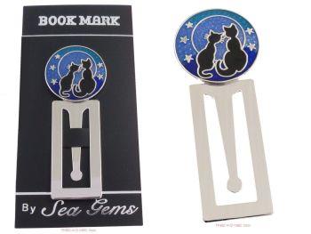 Two Black Cats Stars metal Bookmark