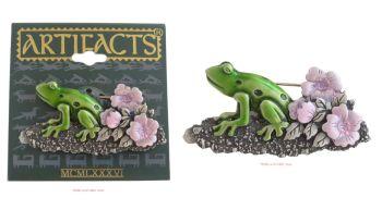 Green Frog & Pink Flowers Brooch by JJ (Jonette Jewellery)