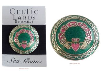 Irish Claddagh Arms round Brooch by Sea Gems
