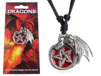 Dragon with Pentagram Pendant Necklace (red enamel)