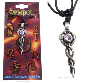 Pagan Rod with Pentagram Snakes & Bead Pendant Necklace