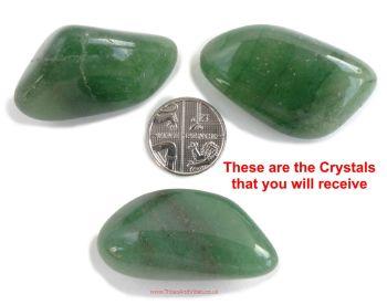 Aventurine (Green) Crystal Tumbled Stones x3 (36mm-38mm) #1