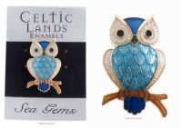 Owl on Branch Brooch (Gold Plate) by Sea Gems