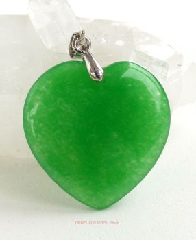 Green Jade Crystal Heart Pendant (Tibetan Silver) 25mm x 24mm
