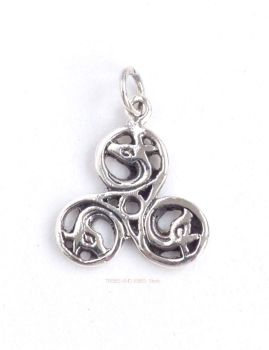 Celtic Triskele Dragons Triquetra Pendant, 925 Sterling Silver