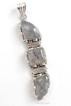Quartz (Tourmaline, Tourmalinated) Crystal Pendant 925 Sterling Silver #3