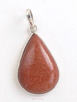Goldstone Teardrop Pendant, 925 Sterling Silver #1