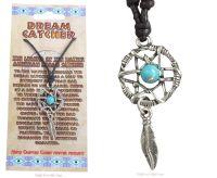 Dream Catcher Pendant faux-turquoise Bead Necklace, 45mm