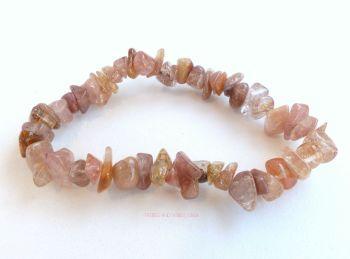 Quartz (Rutilated, Angel Hair) Bracelet Crystal Chunky Chips