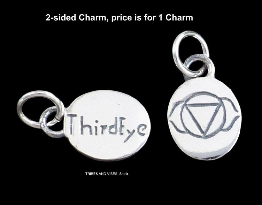 Third Eye Ajna Chakra Charm Sterling Silver (stock)