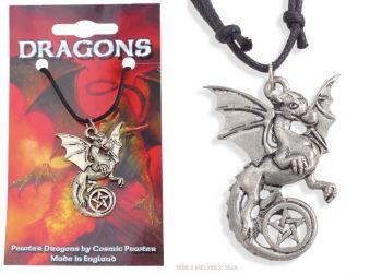 Gothic Dragon & Pentagram Pentacle Necklace