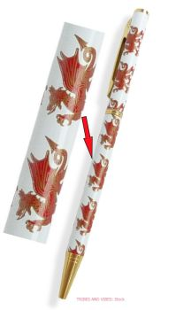 Welsh Dragon (Y Draig Goch) white case Ballpoint Pen & Gift Box, 130mm