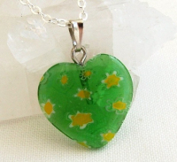 Green Heart Millefiori Glass Pendant: Silver Plated Necklace