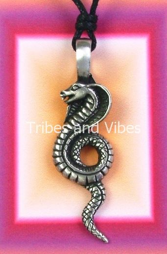 wadjet egyptian snake pewter pendant necklace