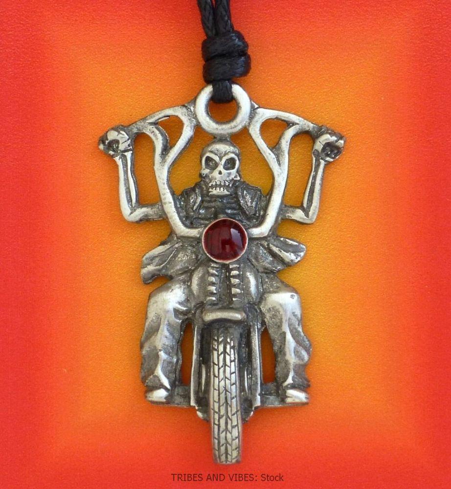 Skeleton Biker Ghost Rider Pendant Necklace (Stock)
