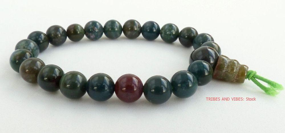 BLOODSTONE (Heliotrope) crystal Power Beads Bracelet / Wrist Mala Meditatio