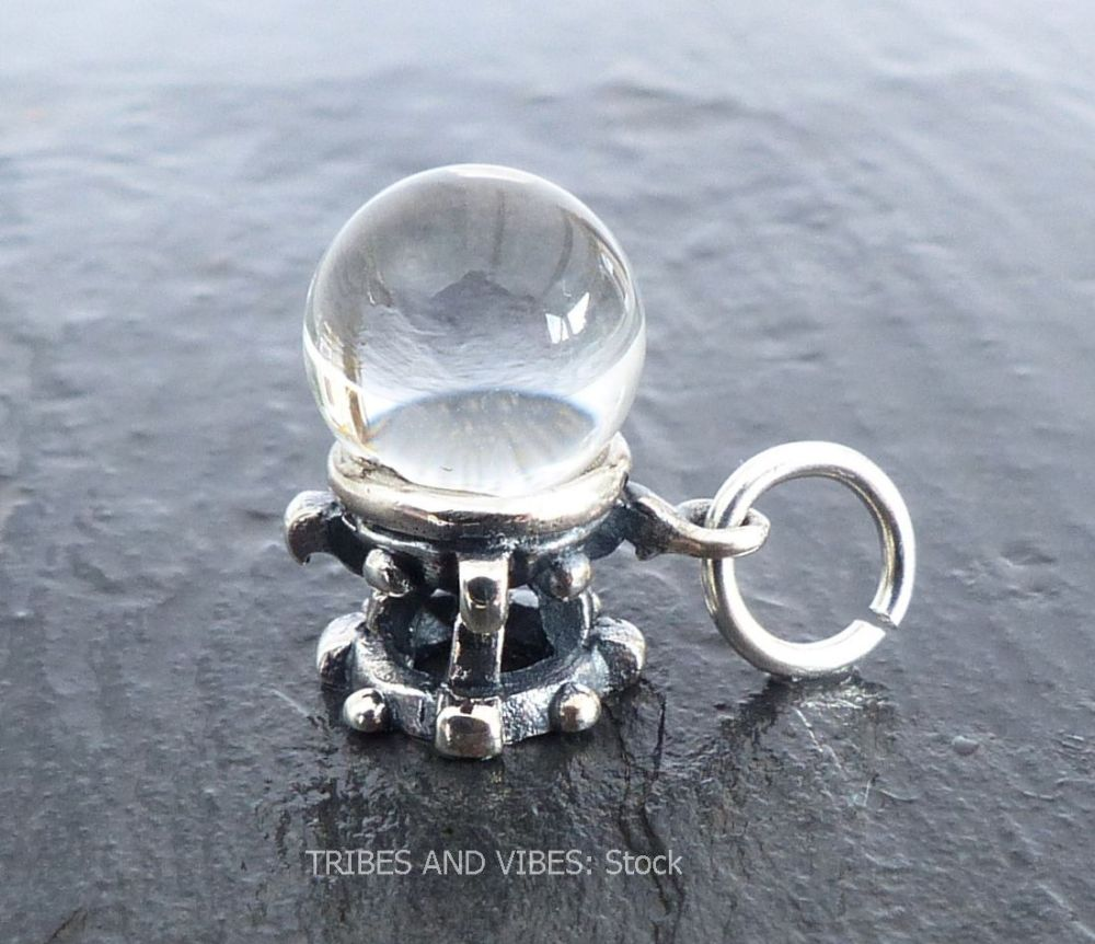 CRYSTAL BALL scrying Charm Sterling Silver (stock)