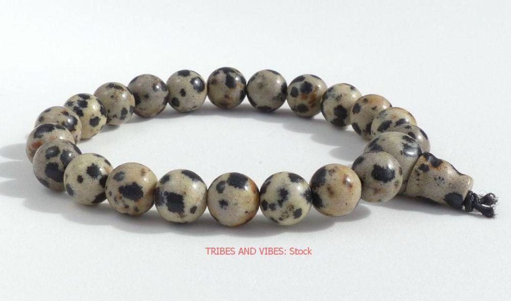 DALMATIAN JASPER healing Crystal Power Beads Bracelet / Wrist Mala