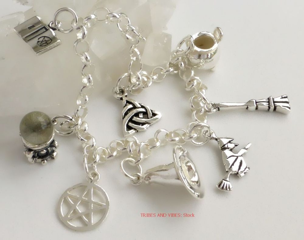 Pagan Witch Charms Bracelet Sterling Silver 19cm (stock)