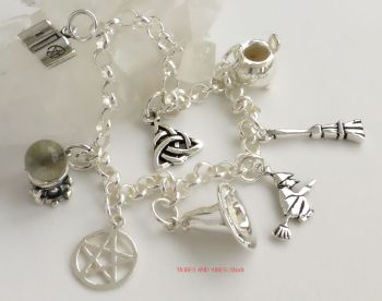 Charm Bracelet with 8x Pagan Witch Charms, Sterling Silver 19cm