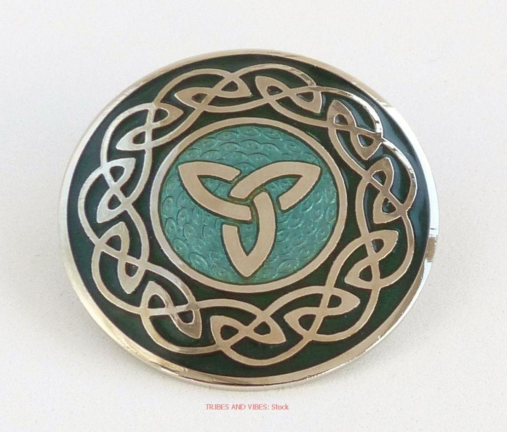 Triquetra Celtic Knotwork Brooch, Aqua & Green (Stock)