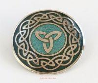 Triquetra Celtic Knotwork Brooch, Aqua Green