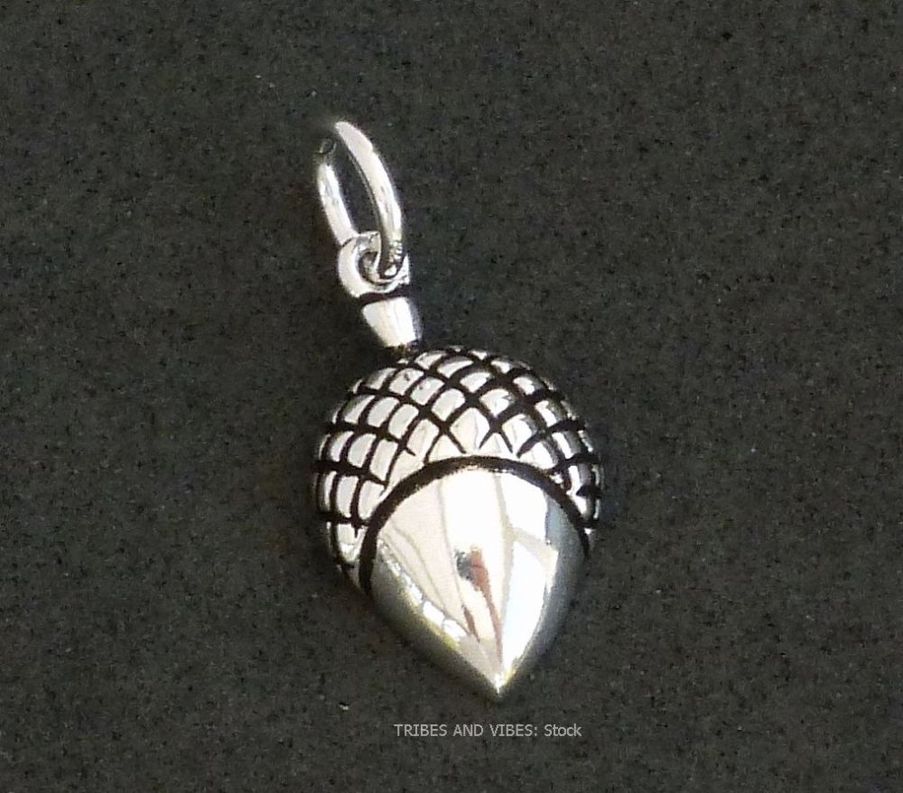 Acorn Charm 925 Sterling Silver, 18mm (stock)