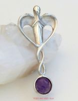 Guardian Angel Pendant Sterling Silver + Amethyst crystal