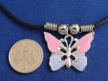 Butterfly Pendant (pink & lilac) + metal beads necklace