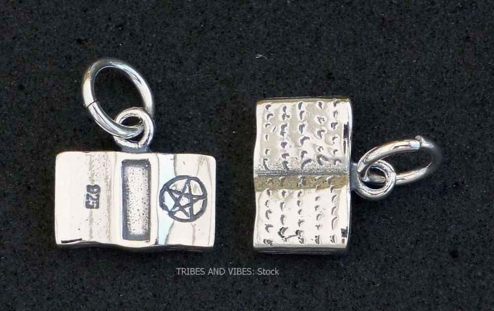 BOOK OF SHADOWS Charm Sterling Silver 2-sided (stock)